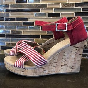 Toms cross canvas cork wedge red white sandals